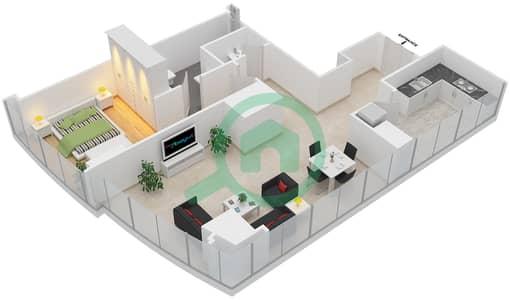 المخططات الطابقية لتصميم النموذج T5-1A شقة 1 غرفة نوم - أبراج الإتحاد