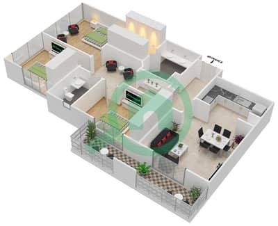 المخططات الطابقية لتصميم النموذج R.3 - 2 شقة 3 غرف نوم - برج بونينغتون