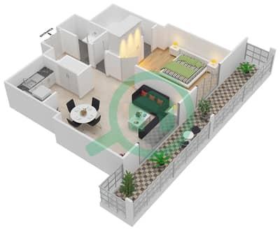 المخططات الطابقية لتصميم النموذج R.1 - 2 شقة 1 غرفة نوم - برج بونينغتون