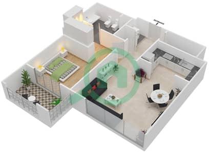 المخططات الطابقية لتصميم النموذج R.1 - 1 شقة 1 غرفة نوم - برج بونينغتون