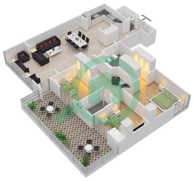 المخططات الطابقية لتصميم النموذج R.3 - 1 شقة 3 غرف نوم - برج بونينغتون