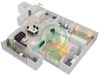 المخططات الطابقية لتصميم النموذج R.2 - 1 شقة 2 غرفة نوم - برج بونينغتون