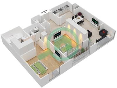 المخططات الطابقية لتصميم النموذج R.2 - 2 شقة 2 غرفة نوم - برج بونينغتون