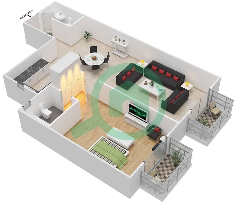 المخططات الطابقية لتصميم الوحدة 22 AREZZO1 شقة 1 غرفة نوم - توسكان ريزيدنس Second Floor image3D