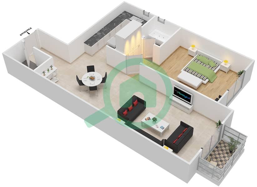 المخططات الطابقية لتصميم الوحدة 22 SIENA 1 شقة 1 غرفة نوم - توسكان ريزيدنس Second Floor image3D