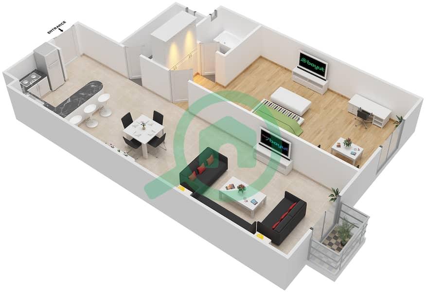 المخططات الطابقية لتصميم الوحدة 17 FLORENCE 1 شقة 1 غرفة نوم - توسكان ريزيدنس Floor 1 image3D