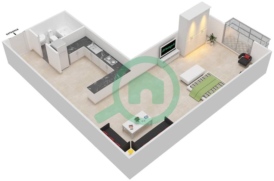 المخططات الطابقية لتصميم الوحدة 17 SIENA 1 شقة  - توسكان ريزيدنس Second Floor image3D