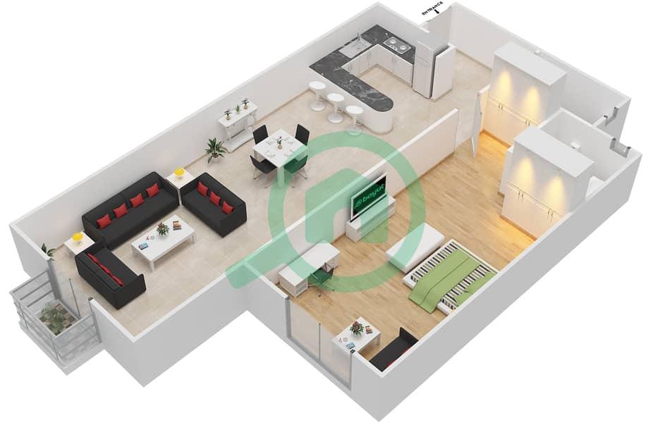 المخططات الطابقية لتصميم الوحدة 14 FLORENCE 1 شقة 1 غرفة نوم - توسكان ريزيدنس Floor 1 image3D