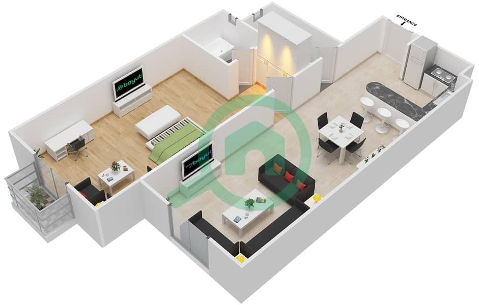 المخططات الطابقية لتصميم الوحدة 12 FLORENCE 1 شقة 1 غرفة نوم - توسكان ريزيدنس Floor 1 image3D