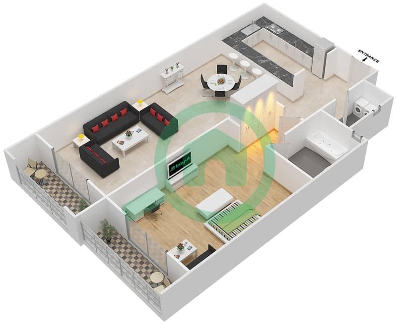 المخططات الطابقية لتصميم الوحدة 11 SIENA 1 شقة 1 غرفة نوم - توسكان ريزيدنس Second Floor image3D