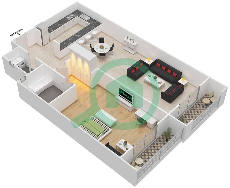المخططات الطابقية لتصميم الوحدة 12 SIENA 1 شقة 1 غرفة نوم - توسكان ريزيدنس Second Floor image3D