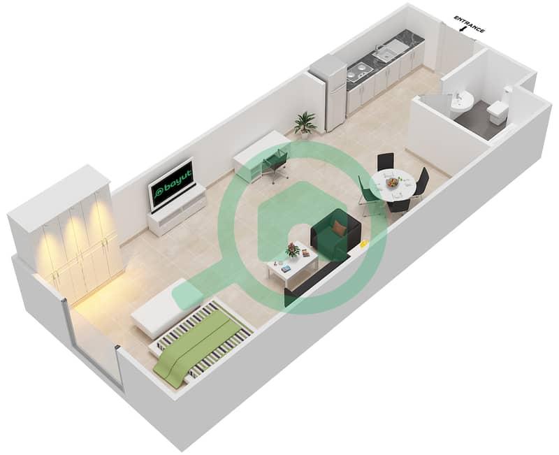المخططات الطابقية لتصميم الوحدة 10 FLORENCE 1 شقة  - توسكان ريزيدنس Floor 1 image3D