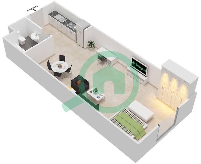 المخططات الطابقية لتصميم الوحدة 10 SIENA 1 شقة  - توسكان ريزيدنس Second Floor image3D