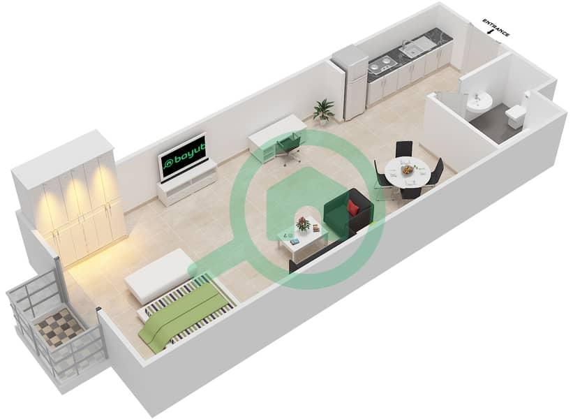 المخططات الطابقية لتصميم الوحدة 6 FLOOR 1 شقة  - توسكان ريزيدنس Floor 1 image3D