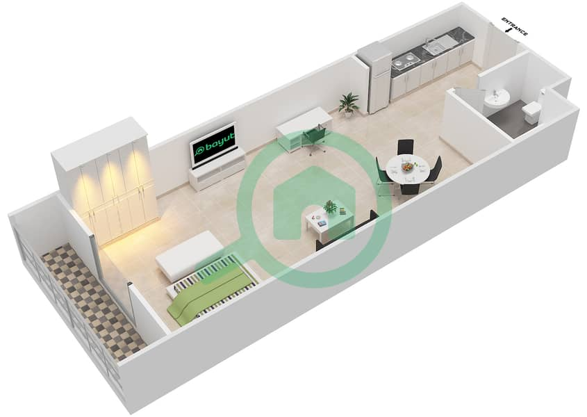 المخططات الطابقية لتصميم الوحدة 6 SIENA 1 شقة  - توسكان ريزيدنس Second Floor image3D