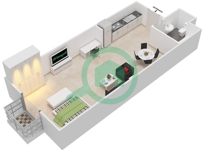 المخططات الطابقية لتصميم الوحدة 4 FLOOR 1 شقة  - توسكان ريزيدنس Floor 1 image3D