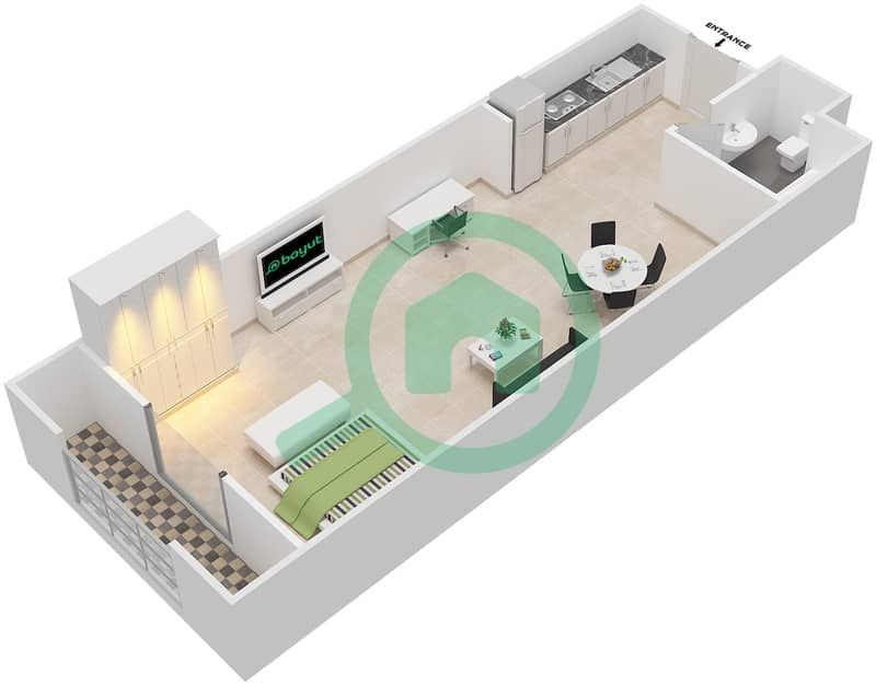 المخططات الطابقية لتصميم الوحدة 4 SIENA 1 شقة  - توسكان ريزيدنس Second Floor image3D