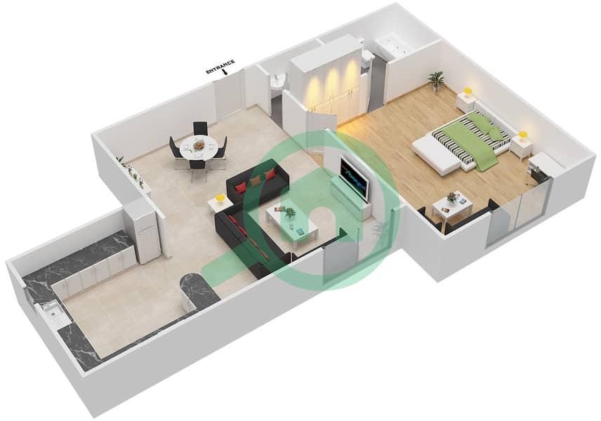 المخططات الطابقية لتصميم الوحدة 3 FLOOR 1 شقة 1 غرفة نوم - توسكان ريزيدنس Floor 1 image3D