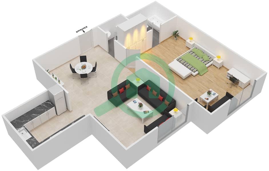 المخططات الطابقية لتصميم الوحدة 3 AREZZO 1 شقة 1 غرفة نوم - توسكان ريزيدنس Second Floor image3D