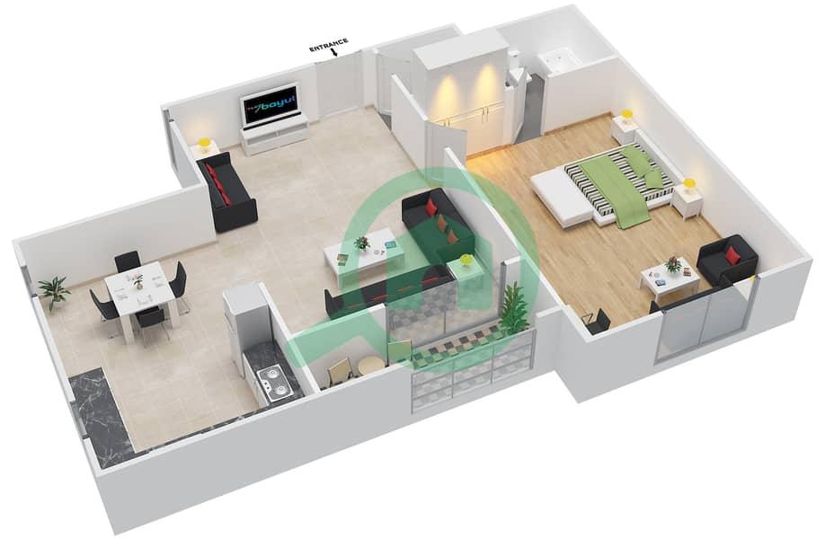 المخططات الطابقية لتصميم الوحدة 3 SIENA 1 شقة 1 غرفة نوم - توسكان ريزيدنس Second Floor image3D