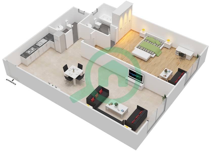المخططات الطابقية لتصميم الوحدة 2 FLOOR 1 شقة 1 غرفة نوم - توسكان ريزيدنس Floor 1 image3D
