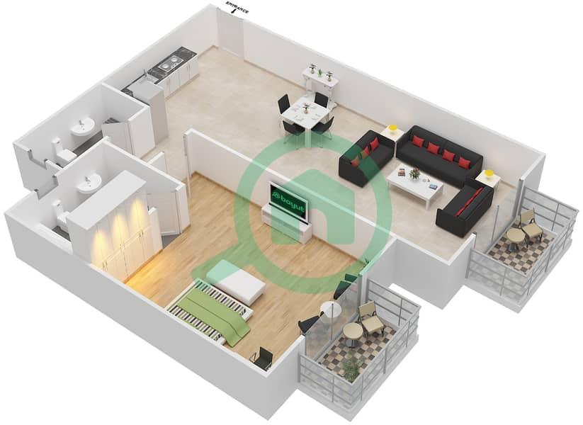 المخططات الطابقية لتصميم الوحدة 1 FLOOR 1 شقة 1 غرفة نوم - توسكان ريزيدنس Floor 1 image3D