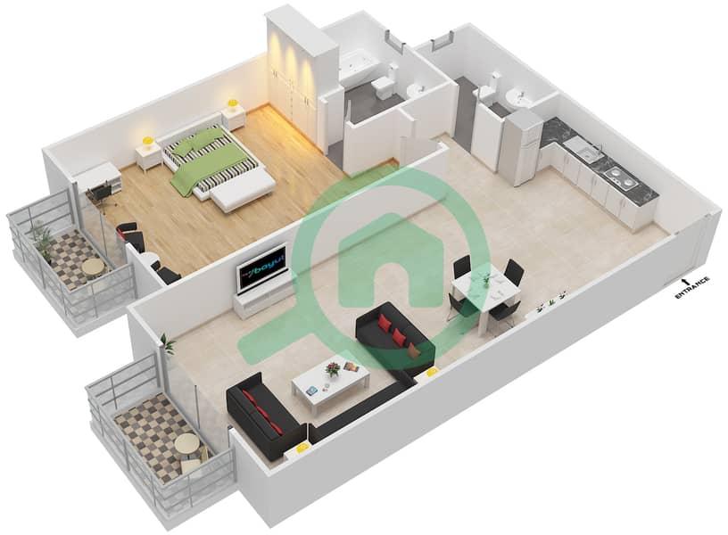 المخططات الطابقية لتصميم الوحدة 1 SIENA 1 شقة 1 غرفة نوم - توسكان ريزيدنس Second Floor image3D