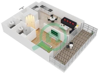 المخططات الطابقية لتصميم الوحدة 401 شقة 1 غرفة نوم - لايا رزيدنسز