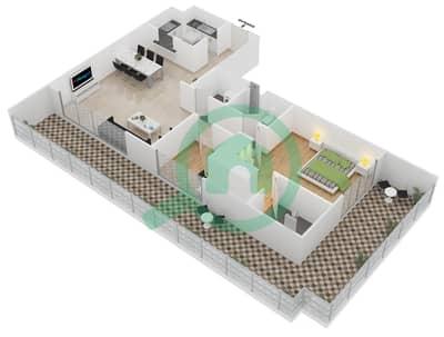 المخططات الطابقية لتصميم الوحدة 402 شقة 1 غرفة نوم - لايا رزيدنسز