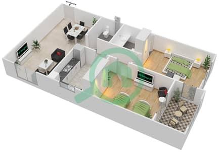 المخططات الطابقية لتصميم الوحدة A-01 شقة 2 غرفة نوم - مردف توليب