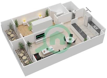 المخططات الطابقية لتصميم الوحدة A-06 شقة 1 غرفة نوم - مردف توليب