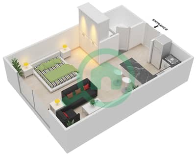 المخططات الطابقية لتصميم الوحدة A-09 شقة  - مردف توليب