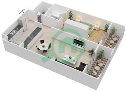 المخططات الطابقية لتصميم الوحدة A-05 شقة 1 غرفة نوم - مردف توليب