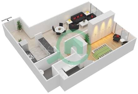 المخططات الطابقية لتصميم الوحدة A-11 شقة 1 غرفة نوم - مردف توليب