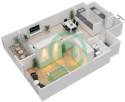 المخططات الطابقية لتصميم الوحدة A-03 شقة 1 غرفة نوم - مردف توليب