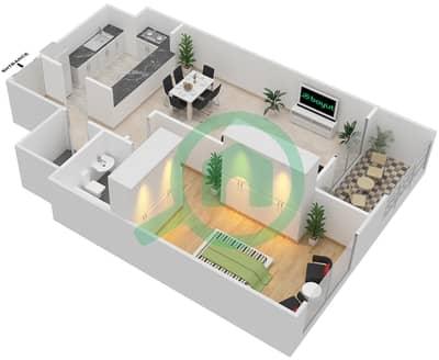 المخططات الطابقية لتصميم الوحدة A-02 شقة 1 غرفة نوم - مردف توليب