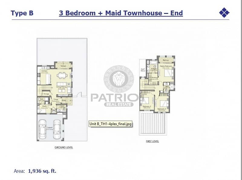 15 Luxurious 3BR End Unit   100% Discount on DLD
