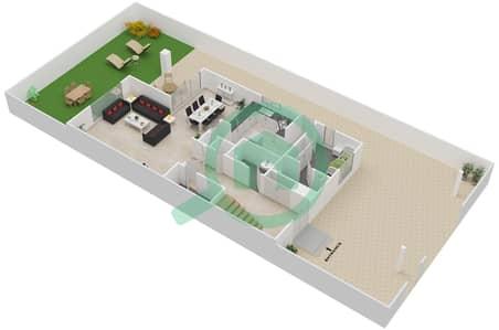 المخططات الطابقية لتصميم النموذج SEMI DTCHD BUNGALOW 1 فیلا 3 غرف نوم - منتجع ونادي الحبتور للبولو - ذي رزدنسز