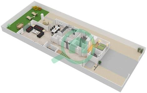 المخططات الطابقية لتصميم النموذج SEMI DTCHD BUNGALOW 1 فیلا 4 غرف نوم - منتجع ونادي الحبتور للبولو - ذي رزدنسز
