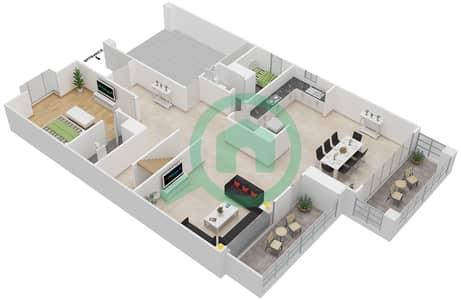 المخططات الطابقية لتصميم النموذج 1 فيلا تجارية 5 غرف نوم - منتجع ونادي الحبتور للبولو - ذي رزدنسز
