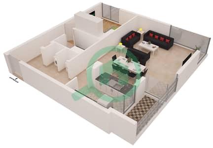 Al Sahab Tower 1 - 1 Bedroom Apartment Suite 5 Floor plan