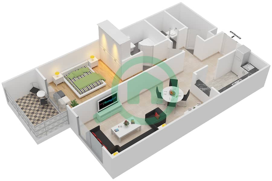 Plazzo Residence - 1 Bedroom Apartment Type 25 Floor plan image3D