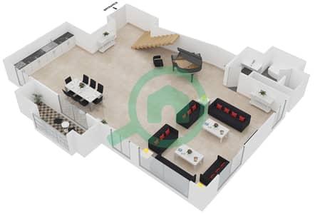 المخططات الطابقية لتصميم الوحدة LOFT L01 شقة 1 غرفة نوم - امواج 4