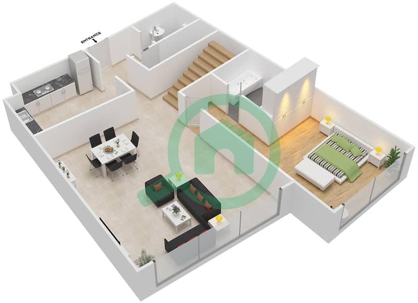 Bab Al Bahr - 3 Bedroom Apartment Type 1 Floor plan Lower Floor 11-14 image3D