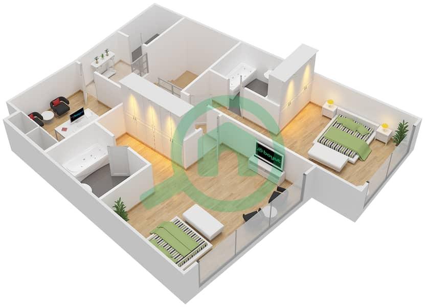 Bab Al Bahr - 3 Bedroom Apartment Type 1 Floor plan Upper Floor 11-14 image3D