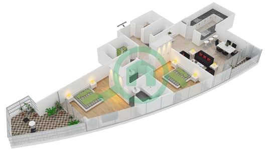 Bayside Residence - 2 Beds Apartments type 3 condominium Floor plan