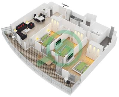 المخططات الطابقية لتصميم النموذج 3E-1 شقة 3 غرف نوم - ليك تراس