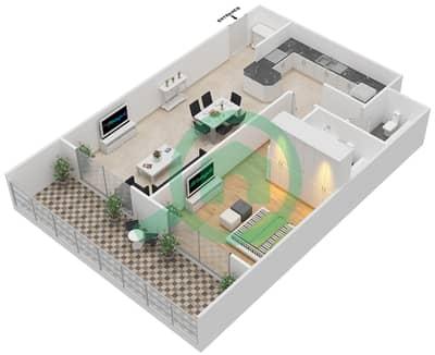 المخططات الطابقية لتصميم النموذج C شقة 1 غرفة نوم - برج قيصر