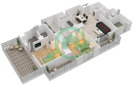 Remraam - 2 Bedroom Apartment Type 1A Floor plan