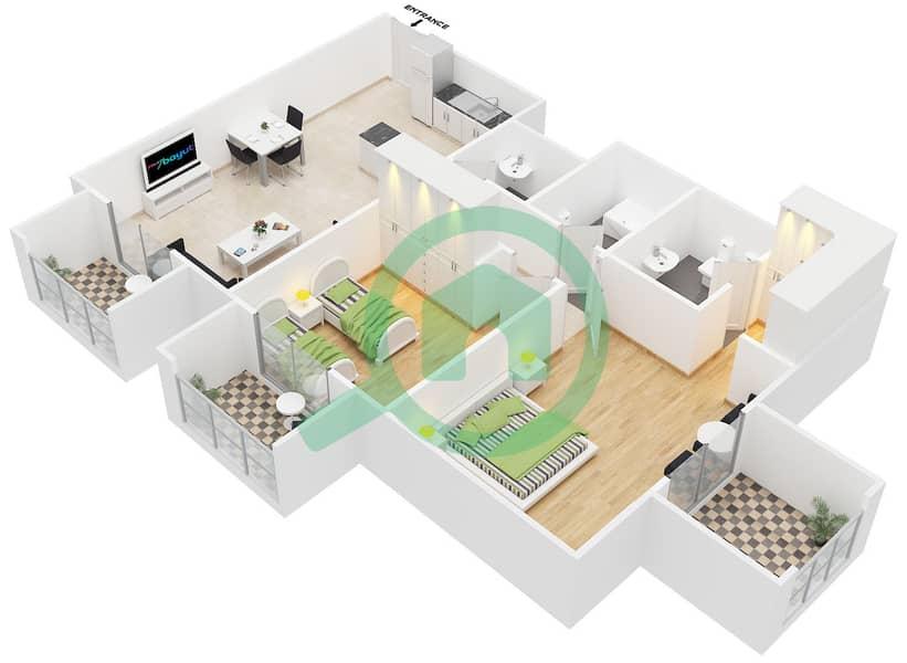 المخططات الطابقية لتصميم النموذج 1 B شقة 2 غرفة نوم - كانديس استر image3D